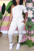 White Fashion Sexy Fitted One Shoulder Short Sleeve Jumpsuit