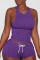 Purple Sexy Solid Backless O Neck Sleeveless Two Pieces