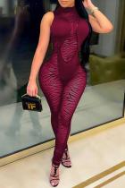 Red Sexy Animal Print Mesh Turtleneck Skinny Jumpsuits
