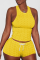 Yellow Sexy Solid Backless O Neck Sleeveless Two Pieces