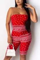 Red Sexy Fashion Printing Strapless Romper