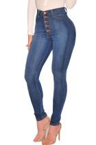 Deep Blue Casual High Waist Skinny Jeans
