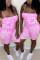 Pink Sexy Fashion Printed Sling Slim Romper