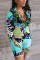 Cyan Fashion Casual Printed Long Sleeve Romper