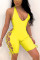 Yellow Sexy Sleeveless Off Shoulder Romper