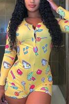 Yellow Sexy Fashion Print Long Sleeve Romper