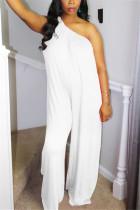 White Fashion Oblique Shoulder Loose Jumpsuit