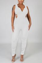 White Sexy Fashion Tight Sleeveless Jumpsuit