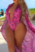 Rose Sexy Print Split Joint Swimwears