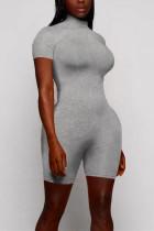 Grey Sexy Fashion Tight Short Sleeve Romper