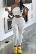 White Sexy Off Shoulder Sleeveless Cutout Jumpsuit