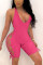 Rose Red Sexy Sleeveless Off Shoulder Romper