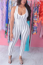 White Sexy Striped Printed Sleeveless Jumpsuit