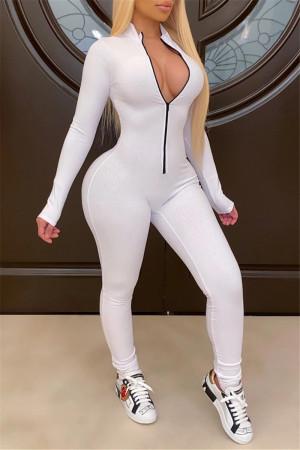 White Fashion Long Sleeve Zipper Sports Jumpsuit