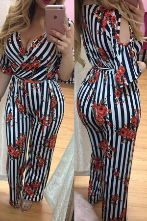 White Fashion Sexy Printed Short Sleeve Jumpsuit