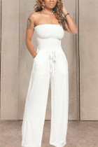 White Fashion Sexy Strapless Slim Jumpsuit