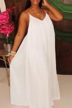 White Fashion Sexy Loose Sling Chiffon Jumpsuit