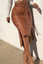 Brown PU Drawstring Sleeveless High Patchwork Solid bandage Split A-line skirt Capris Bottoms