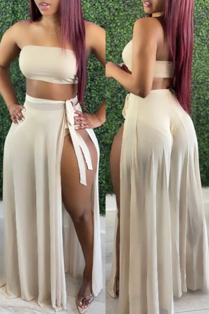 Apricot Fashion Sexy Solid See-through Backless Swimwears Set