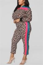 Leopard print Fashion Slim Trendy Two-Piece Suit