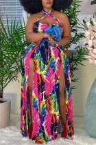 Multicolor Fashion Sexy Plus Size Print Backless Slit Halter Sleeveless Dress