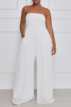 White Sexy Casual Solid Backless Strapless Regular Jumpsuits