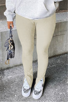 Apricot Fashion Casual Solid Slit Regular Mid Waist Conventional Solid Color Bottoms