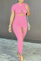 Pink Fashion Sexy Solid Ripped Hollowed Out O Neck Short Sleeve Dress