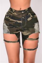 Camouflage Sexy High Waist Broken Hole Denim Pants