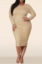 Beige Fashion Casual Plus Size Patchwork Slit Beading O Neck Long Sleeve