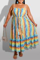 Yellow Sexy Casual Plus Size Print Backless Spaghetti Strap Sleeveless Dress