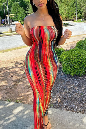 Multicolor Sexy Fashion Print Strapless Slim Dress