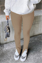 Khaki Fashion Casual Solid Slit Regular Mid Waist Conventional Solid Color Bottoms