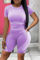 Purple Casual Solid Split Joint O Neck Short Sleeve Two Pieces