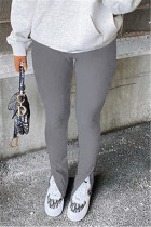 Grey Fashion Casual Solid Slit Regular Mid Waist Conventional Solid Color Bottoms