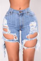Light Blue Sexy High Waist Broken Hole Denim Pants