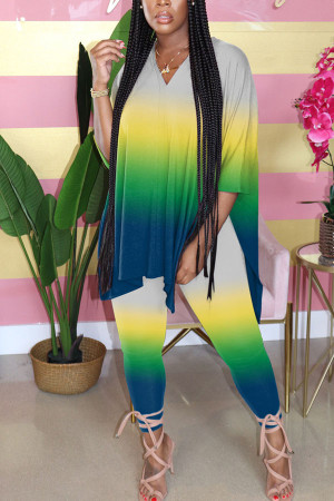 Green Fashion Sexy adult Ma'am Print Gradient Two Piece Suits pencil Half Sleeve Two Pieces