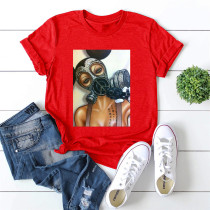 Red Fashion Casual Print Basic O Neck T-Shirts