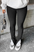 Black Fashion Casual Solid Slit Regular Mid Waist Conventional Solid Color Bottoms