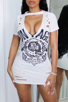 White Fashion Sexy Print Ripped Hollowed Out O Neck Short Sleeve Dress