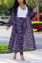 Purple Fashion Casual Zebra Print Long Sleeve Two-Piece Suit