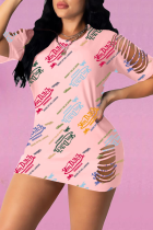 Pink Sexy Print Split Joint O Neck Straight Dresses
