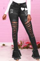 Black Fashion Casual Print Ripped High Waist Skinny Jeans