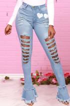 Medium Blue Fashion Casual Print Ripped High Waist Skinny Jeans