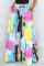 Colour Casual Print Split Joint Loose High Waist Wide Leg Full Print Bottoms