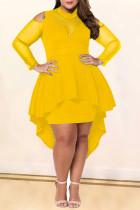 Yellow Sexy Fashion Long Sleeve Plus Size Dress