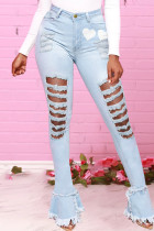 Baby Blue Fashion Casual Print Ripped High Waist Skinny Jeans