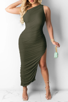 Army Green Casual Solid High Opening One Shoulder Sleeveless Dress Dresses