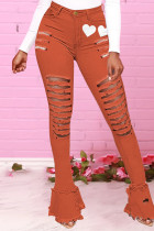Red Fashion Casual Print Ripped High Waist Skinny Jeans