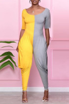 Yellow Fashion Casual Patchwork Backless O Neck Regular Jumpsuits